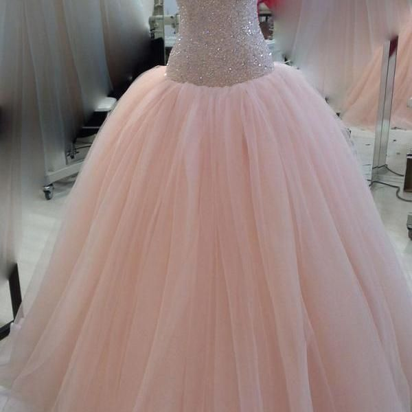 Modest Pink Quinceanera Dresses Sweetheart Beaded Bowknot Tulle Puffy Prom Formal Ball Gowns Custom