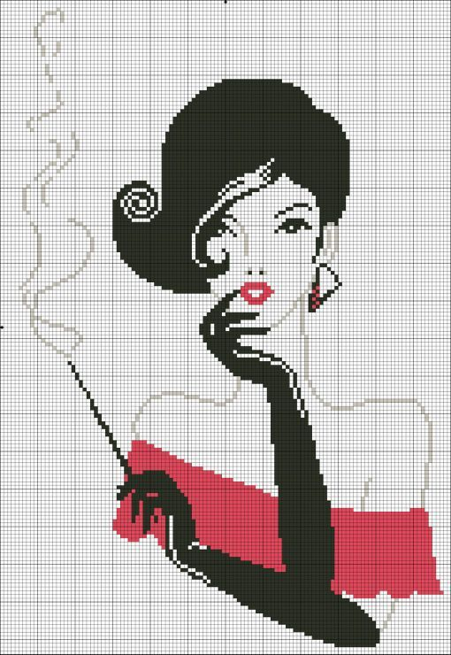 point de croix femme fumant - cross-stitch woman smoking