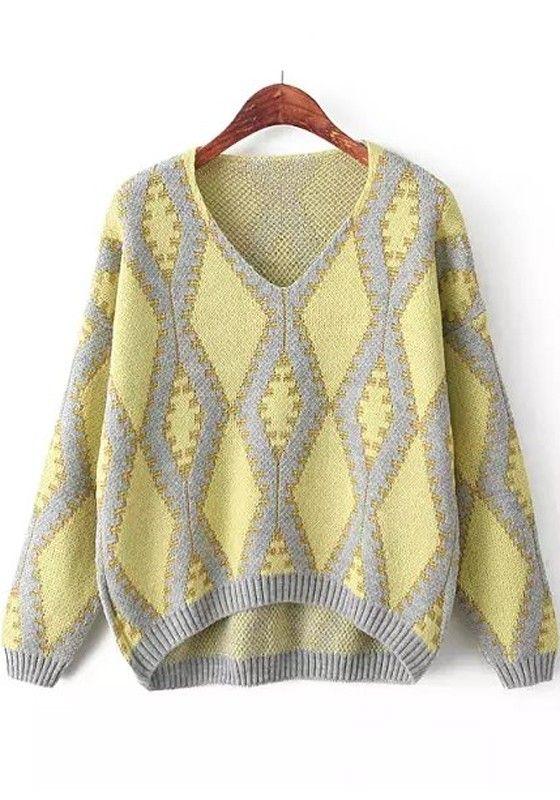Yellow Geometric Print Long Sleeve Sweater