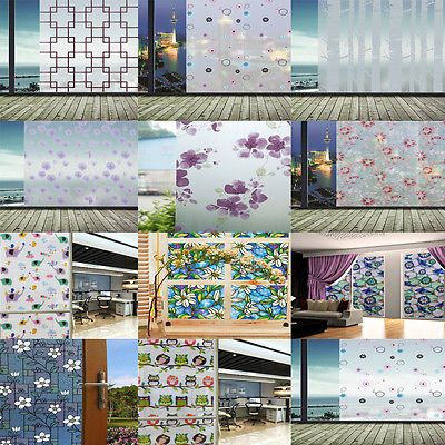 Static Cling Cover Stained Flower Window Film Glass Privacy Home