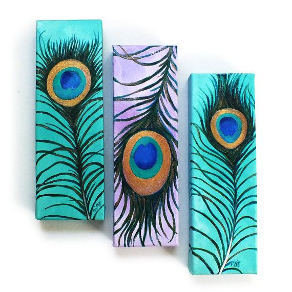 3 PEACOCK FEATHERS No.3, Whimsical art for home and office, Set of three 4x12 canvases