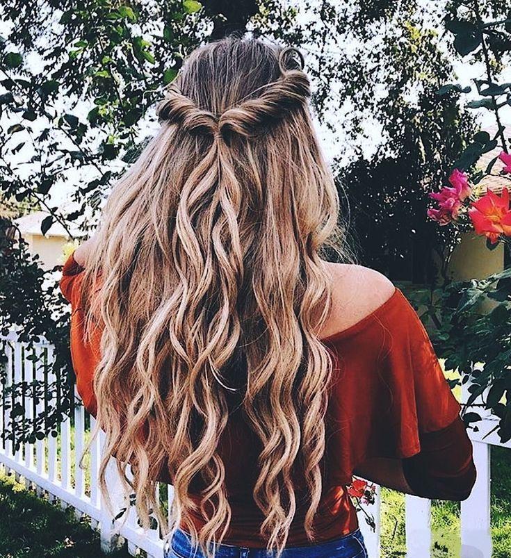 10 Most Popular Half Up Half Down Curly Hairstyles Braided Hairstyles Chic Hairstyles Long Hair Styles Medium Length Hair Styles