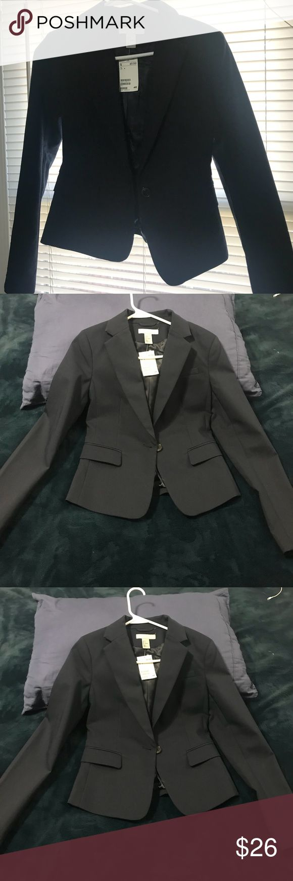 Slim fit Blazer Never worn . With tags . Very professional . Navy color H&M Jackets & Coats Blazers