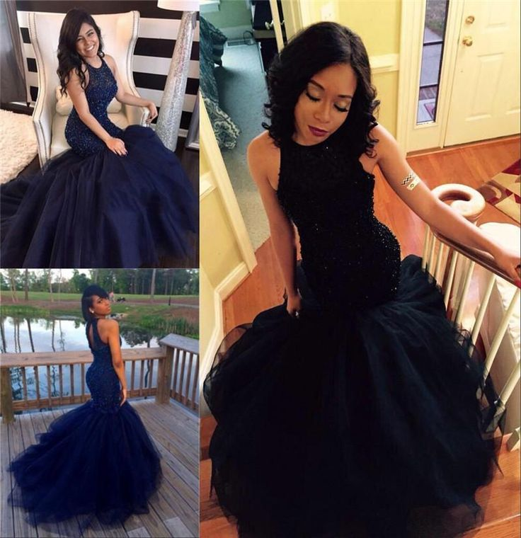 Black mermaid sequin prom dresses