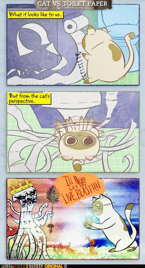 Kitteh Komic ob teh Day Cat vs. Toilet Paper Cats, Cat