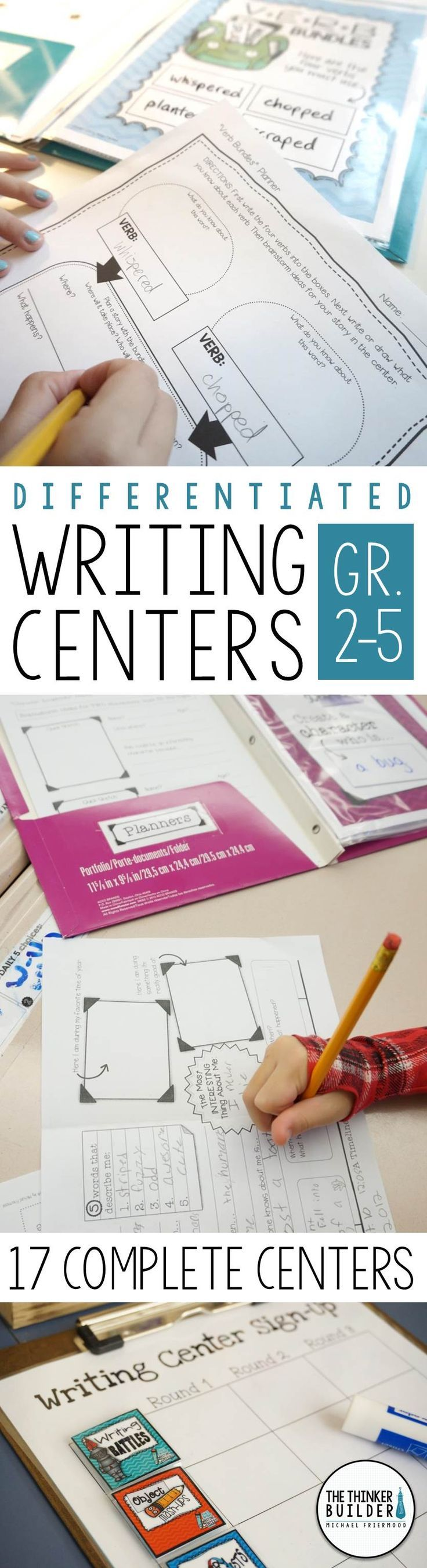 Engaging, differentiated writing centers that give students a variety of meaningful writing practice. Each center includes student directions, planning organizer, writing paper, and writing tips. Includes assembly instructions, sign-up charts, and record sheets to make the centers EASY TO MANAGE, as well as extensive idea lists that make the centers EASY TO KEEP FRESH. 17 complete centers included in the bundle. Gr 2-5 ($)