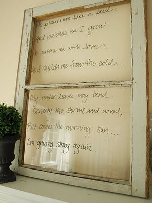 {I saw these for the first time at the Arts & Crafts Show I did this summer.} Dry erase board from an old window. Love it!