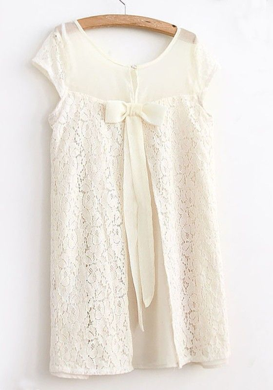 Beige Hollow-out Bow Collarless Short Sleeve Lace Dress $30