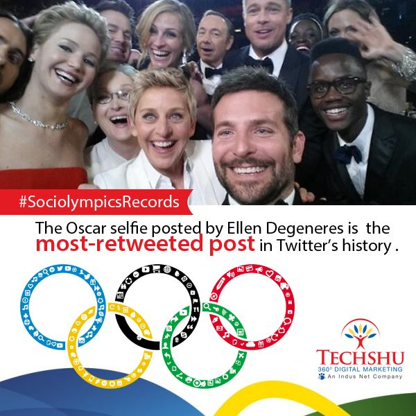 #Sociolympicsrecords The group selfie at 2014 Oscars by Ellen DeGeneres is the…