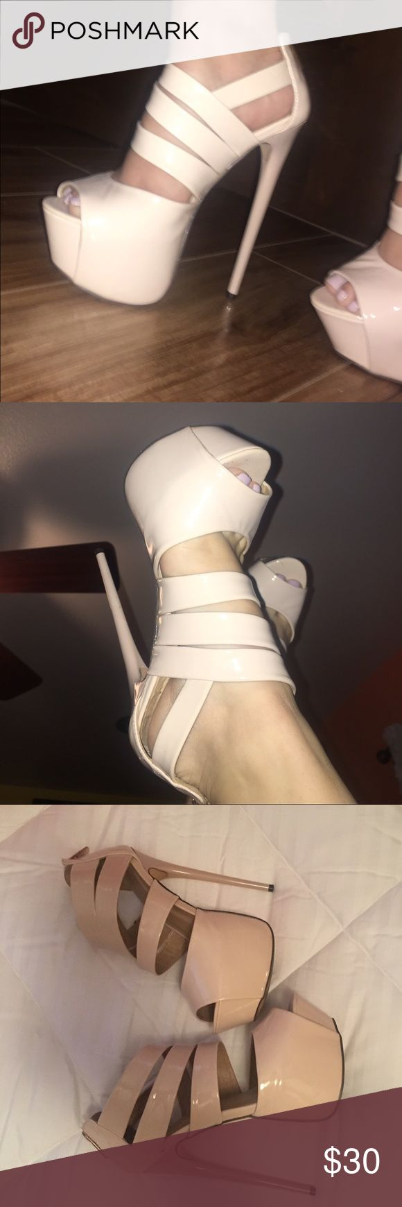 Sexy nude 6 inch heels size 6 Super sexy HIGH heels! 6 inch heel, 2 inch platform. Only worn once! Minimal signs of wear. By far the sexiest pair of shoes I've ever owned! Need to make room in my closet though. ❤️❤️❤️ Comes without box. Offers welcomed! Liliana Shoes Platforms