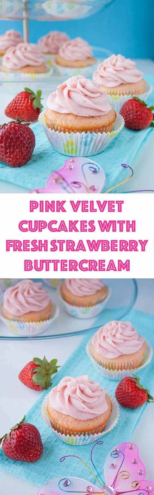 These moist and buttery vanilla cupcakes are soft pink in color and topped with a strawberry reduction buttercream. I made them for my best friend's baby shower and they were a hit!