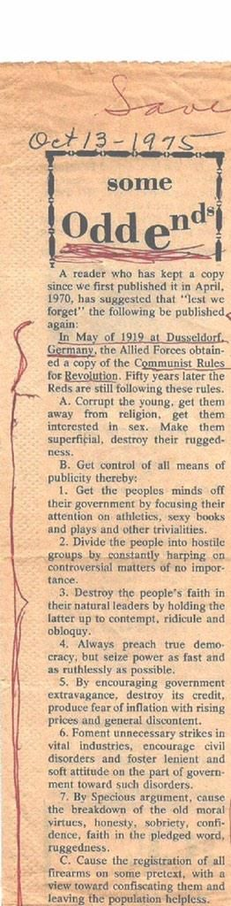 Newspaper article from October, 1915, reprinted in 1975.Those out to destroy our freedom and strength.