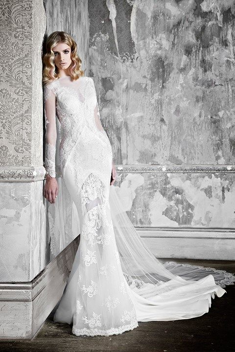 Pallas Couture High Neck Sheath Gown in Lace | KleinfeldBridal.com