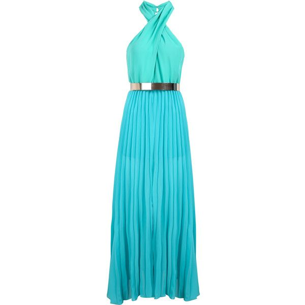 Halter Pleated Maxi Dress ($36) ❤ liked on Polyvore featuring dresses, gowns, sheinside, vestidos, maxi dresses, blue, sleeve maxi dress, blue gown, blue ball gown and blue halter dress