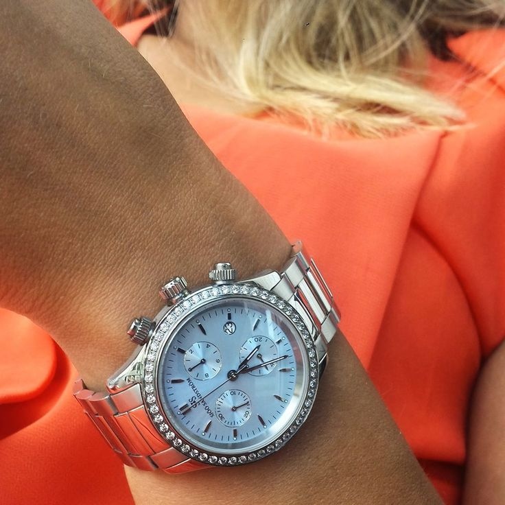 Sjöö Sandström Royal Steel Chronograph.  #sjöösandström #sjoosandstrom #watch #watches #watcheswoman #ladies #diamond #orange #style #sjöösandström #sjoosandstrom