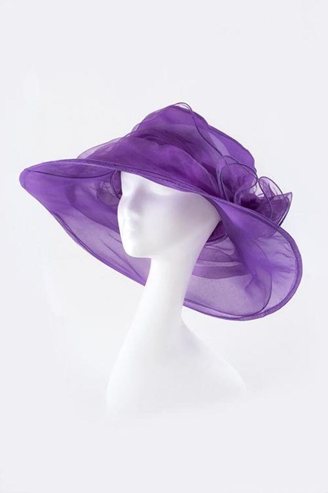 Fashion Accessories Trendy Sun Cap Hat Floral Bow Organza Purple - 98SD425 #TOTALFASHION #Sunhat