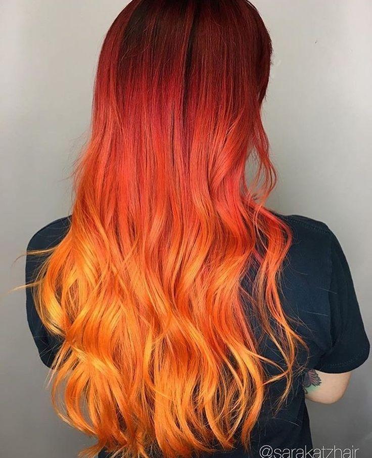 Cabello rojo naranja y amarillo
