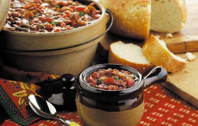Beef, Bean & Sausage Chili - A bowl of Grandmas rib-sticking chili ...