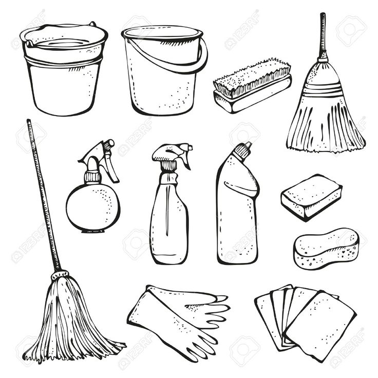 Home Office Cleaning Supplies Doodle Clip Art Icons Stock Vector Illustration In Cleaning Supplies Drawing With Regard To Cleaning Drawing Art Icon Doodles