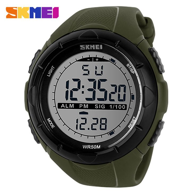 Skmei Men Climbing Sports Digital Wristwatches Big Dial Military Watches Alarm Shock Resistant Waterproof Watch 1025