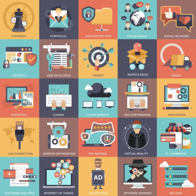 Business Technology Management And Finances Icon Set Collection Flat Vector Advertising Application Big Png And Vector With Transparent Background For Free D Finans Teknoloji