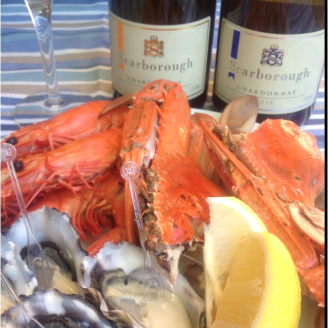 Seafood paired with 2010 Scarborough Blue Label Chardonnay & 2009 Yellow Label Chardonnay