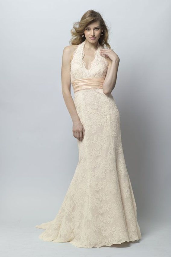 Nice WTOO Camden Ivory re embroidered lace over almond lining halter gown with blush shimmer