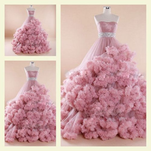 Noble Style Strapless Princess Pink Flower Luxury Queen Ball Gown Club/ Party/ Lady/Evening/ Formal/Gown /Prom/Homecoming/wedding  Dress