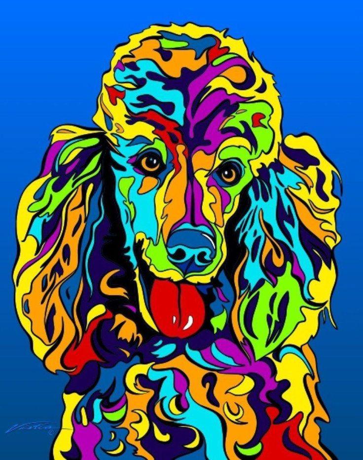 Multi Color 6pcs Honeycomb Handle Design Ombre Makeup: Multi-Color Poodle Dog Breed Matted Prints & Canvas