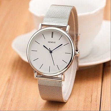nieuwe beroemde merk zilveren ongedwongen Genève quartz horloge vrouwen metalen gaas roestvrij staal kleding horloges Relógio Feminino - EUR € 11.75