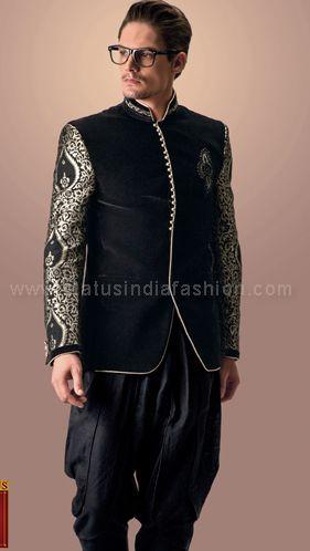 Mens Jodhpuri, stylish jodhpuri, wedding jodhpuri, black gold jodhpuri, velvet jodhpuri, designer jodhpuri www.statusindiafashion.com