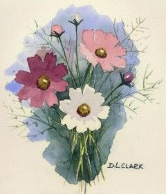 How To Paint Cosmos Flowers In Watercolours Watercolor Easy Follow Tutorial