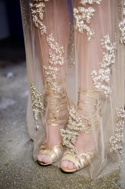 sheer + goldWedding Dressses, Fashion, Lace Wedding Dresses, Style, Brides, Gold Lace, Gold Wedding, Haute Couture, Gold Shoes