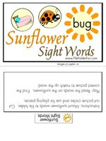 Sight Word File Folder Game 3 letter words