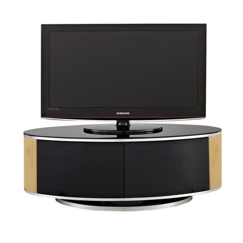 MDA Designs Luna Black and Oak TV Cabinet up to 50 inch