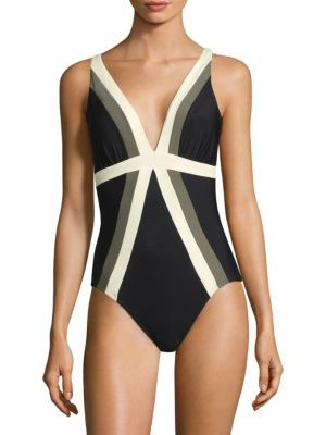 Miraclesuit+Swim+Striped+Front+One+Piece+Swimsuit+Swimwear+ +Clothing