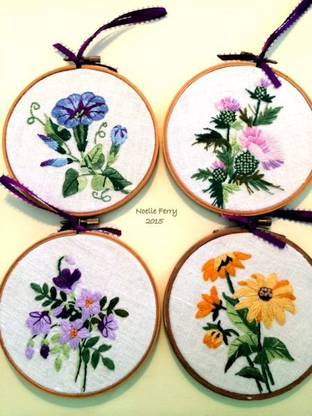 Embroidered napkins from iron on designs