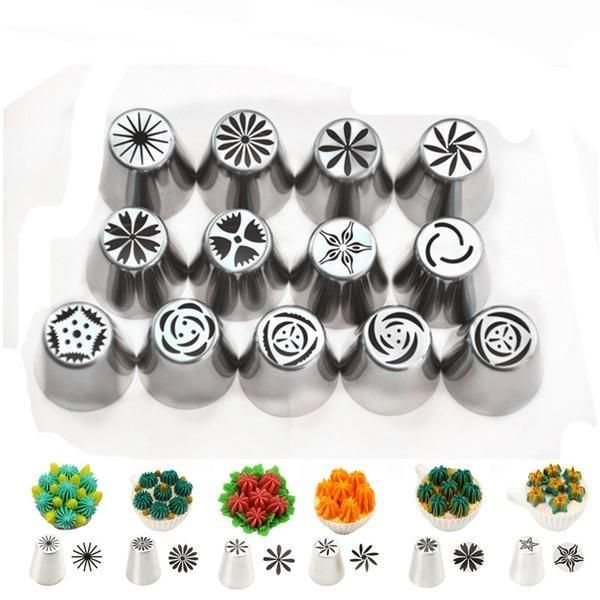 Stainless Steel Icing Piping Nozzles Pastry Tips Coupler Nozzle for Cake Decorating Tools - 13 pcs