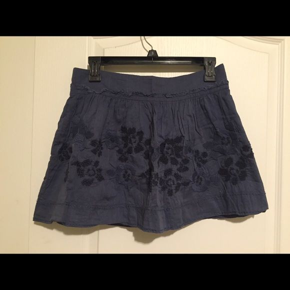 Ameican Eagle Skirt Blue skirt with embroidered flowers from American Eagle American Eagle Outfitters Skirts Skirt Sets