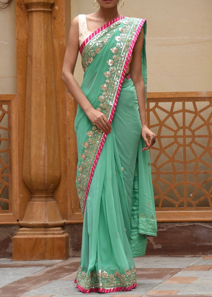 Aqua Georgette Saree