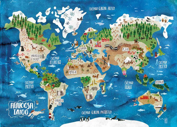 Illustrated Map of the world by Carmen Saldana