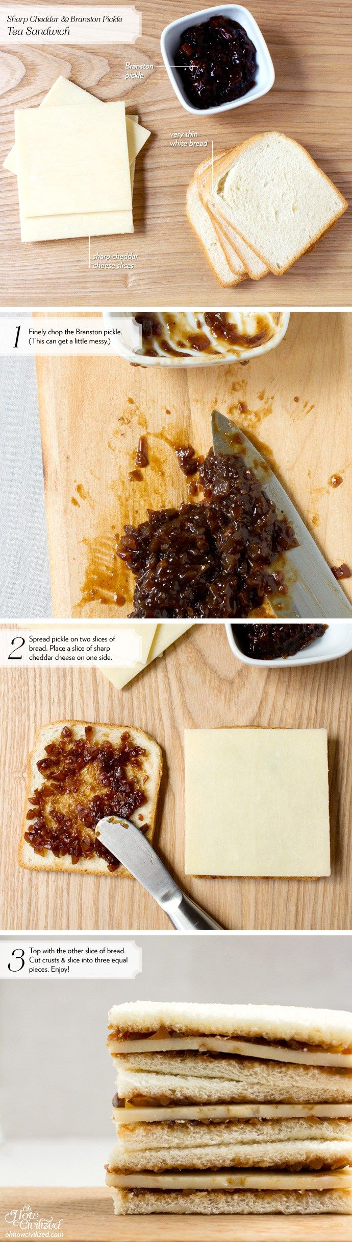 One of the easiest tea sandwiches to make, this Sharp Cheddar & Branston Pickle is tangy and hearty. Branston Pickle is a British pickle relish made of a mix of vegetables.