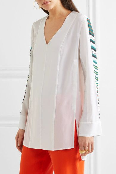 Equipment - Norma Striped Washed-silk Tunic - White - medium
