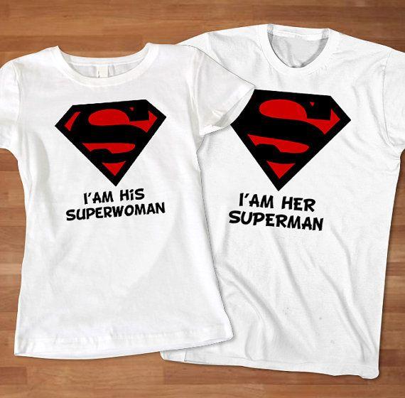 Superman Superwoman Couples TShirt Superhero by Sarimbittees, $39.00