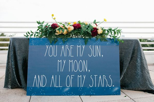 stargazer themed wedding inspiration - photo by Amanda Lenhardt http://ruffledblog.com/starburst-themed-wedding-inspiration #weddingideas #signs #signage