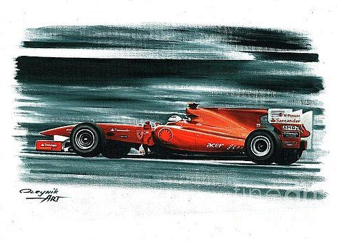 2010, Ferrari F10,  Fernando Alonso,  Felipe Massa.  Ferrari F1 collection ART by Artem Oleynik. This collection demonstrating Ferrari F1 racing cars since 1950 to 2016 and includes 96 pictures in oil on canvas. The size of each original picture is 25 x 35 cm.