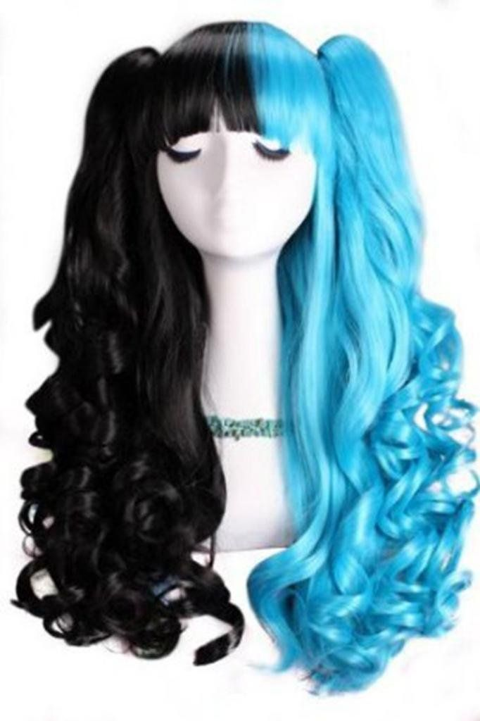 Amazon.com : Nuoqi Lolita Long Curly Girls Blue Black Mixed Wave Colorful Cosplay Wig C22C : Beauty