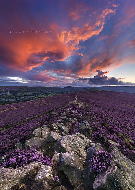 Winhill purple dusk -- Peak District. England UK #sunset sky flowers landscape nature