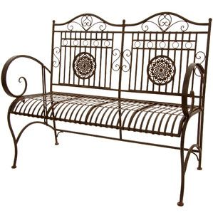 Oriental Furniture Rustic Medallion Metal Garden Bench   A Weathered Finish  And Unique Details Give The Oriental Furniture Rustic Medallion Metal  Garden ...