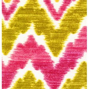 This is a pink, green and gold Ikat flame stitch design outdoor Upholstery fabric, suitable for any decor. Perfect for pillows, cushions and furniture.